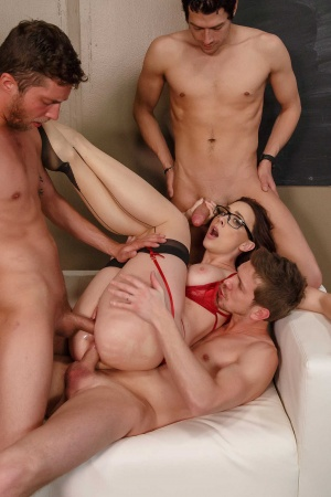 Professor Chanel Preston gets double penetrated by her students in a gangbang